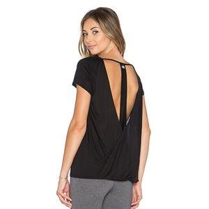 ALO Row Black Short Sleeve Top